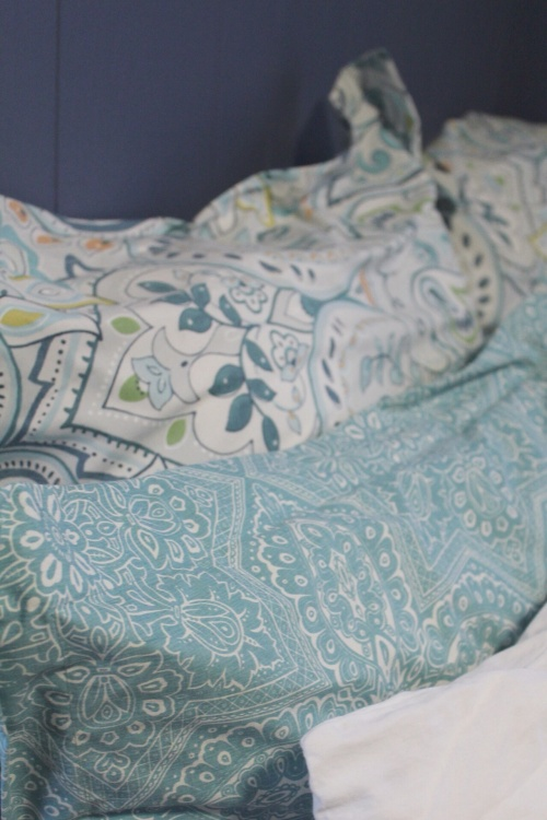 teal sham from pottery barn. mix and match bedding for a layered, custom look.